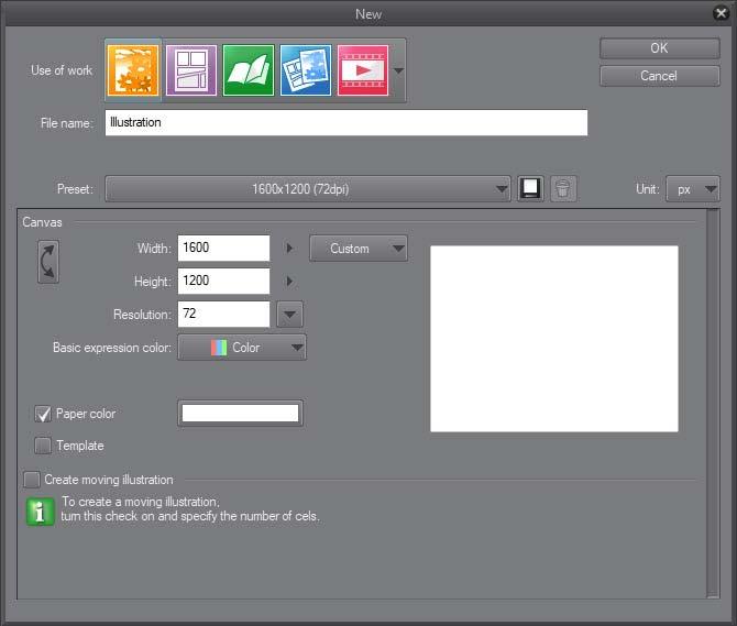 Новый проект в Clip Paint Studio