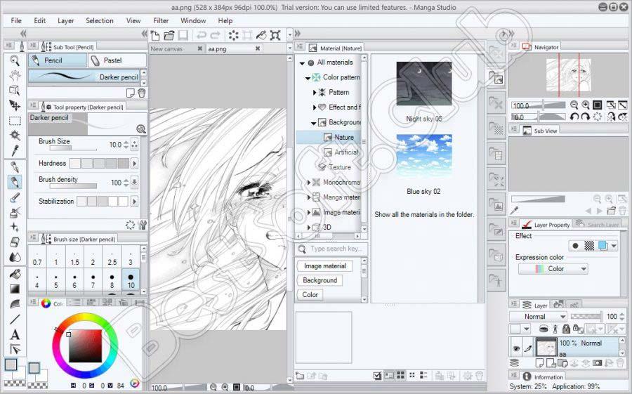 Эффекты в Manga Studio EX