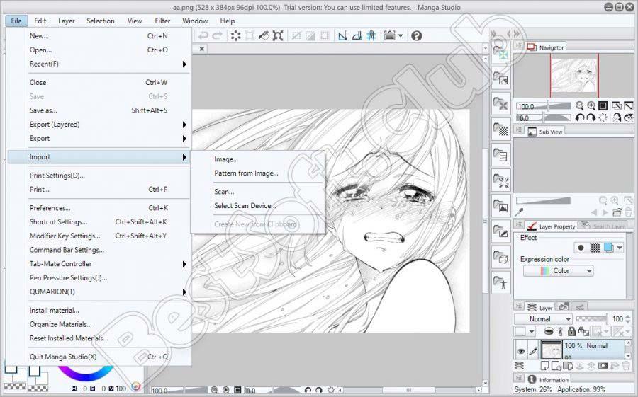 Импорт изображения в Manga Studio EX