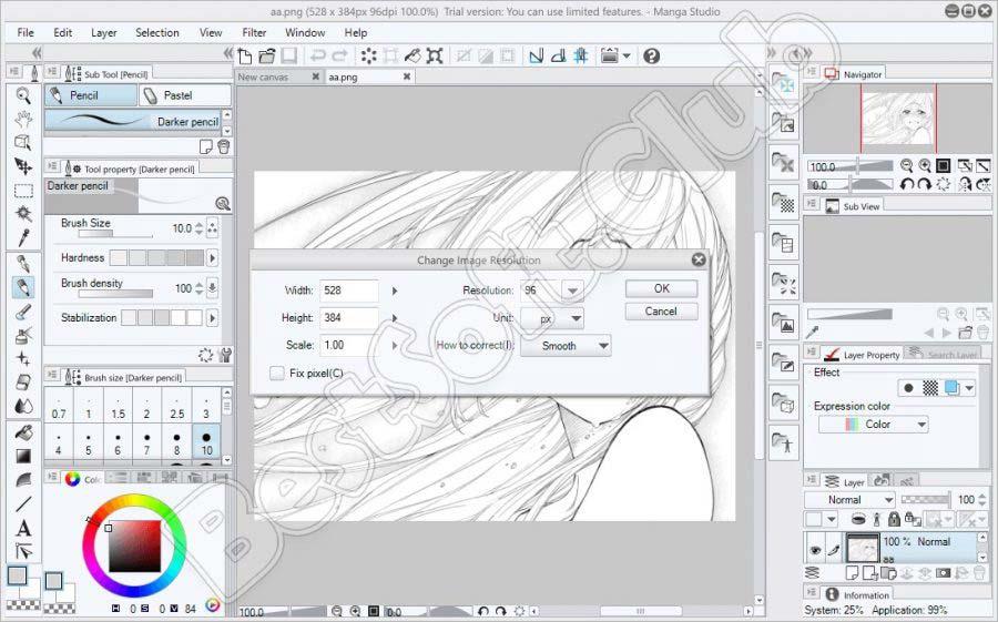 Разрешение изображения в Manga Studio EX