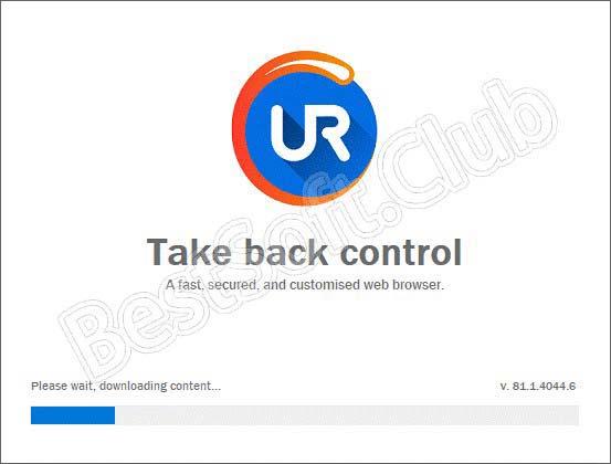 Ход инсталляции UR Browser