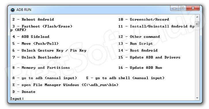 Выбор команды при работе с Adb Run на Windows 7