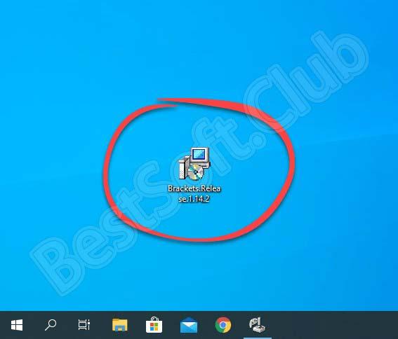Запуск установки Brackets для Windows 10