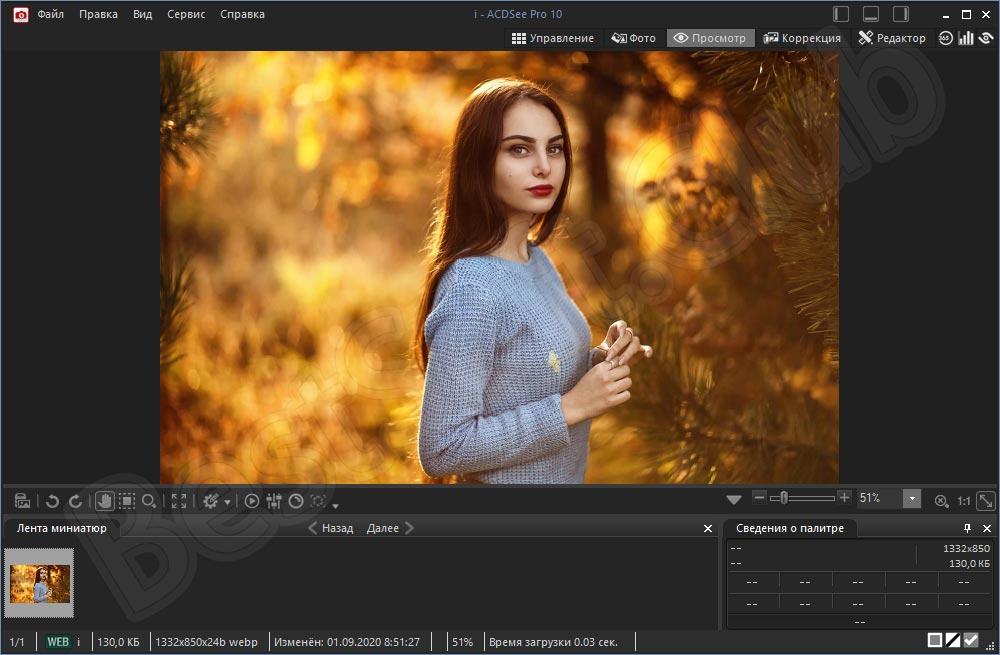 Просмотр изображения в ACDSee Pro