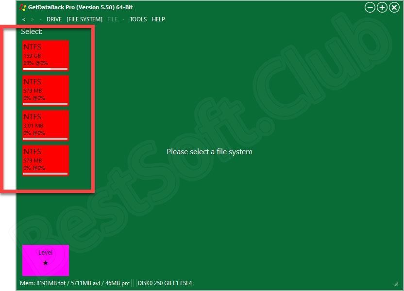 Выбор тома для восстановления в GetDataBack Pro