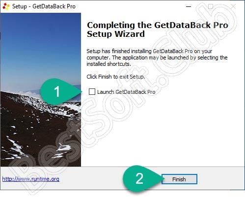 Завершение установки GetDataBack Pro
