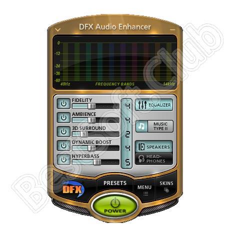 Программный интерфейс DFX Audio Enhancer