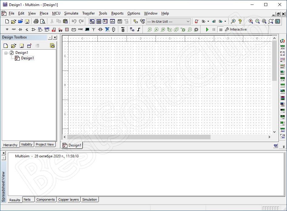 Программный интерфейс Ni Multisim