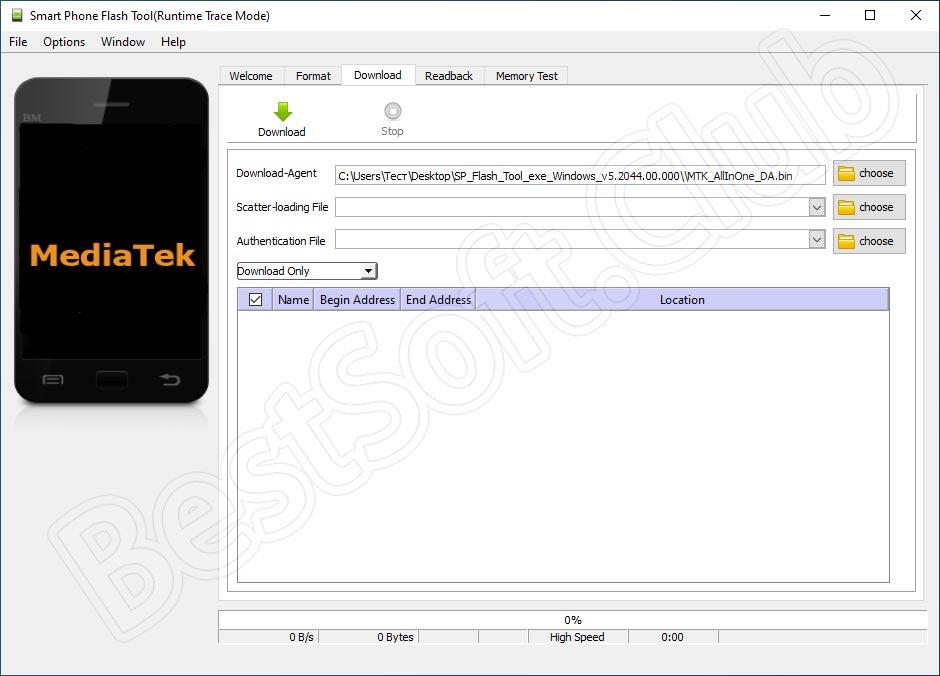 Программный интерфейс SP Flash Tool