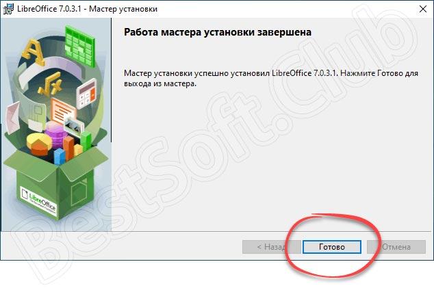 Завершение инсталляции LibreOffice Impress