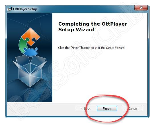 Завершение установки OttPlayer