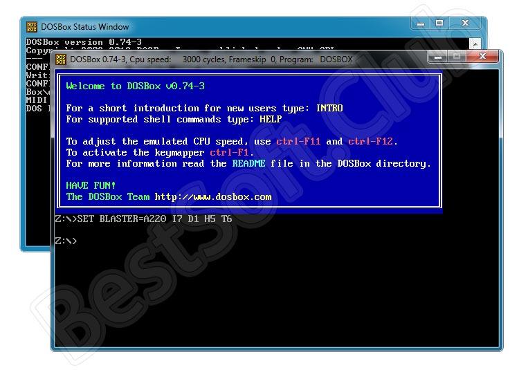 Программный интерфейс DOSBox