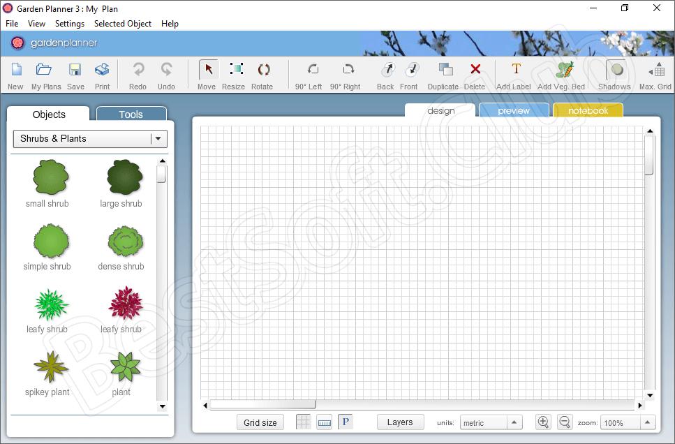 Пользовательский интерфейс программы Garden Planner