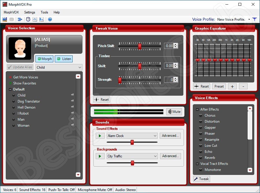 Программный интерфейс Screaming Bee MorphVOX Pro