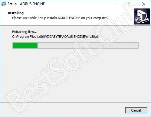 Процесс инсталляции программы Aorus Graphics Engine