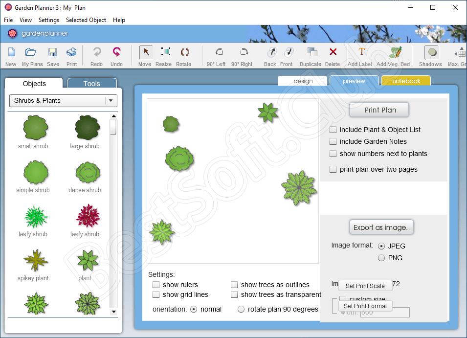 Работа с Garden Planner