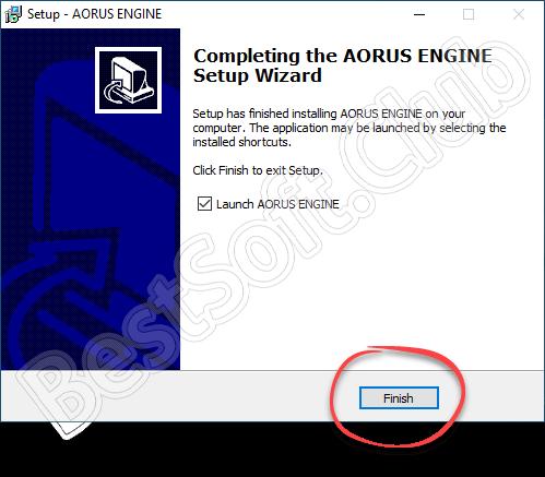 Завершение установки Aorus Graphics Engine