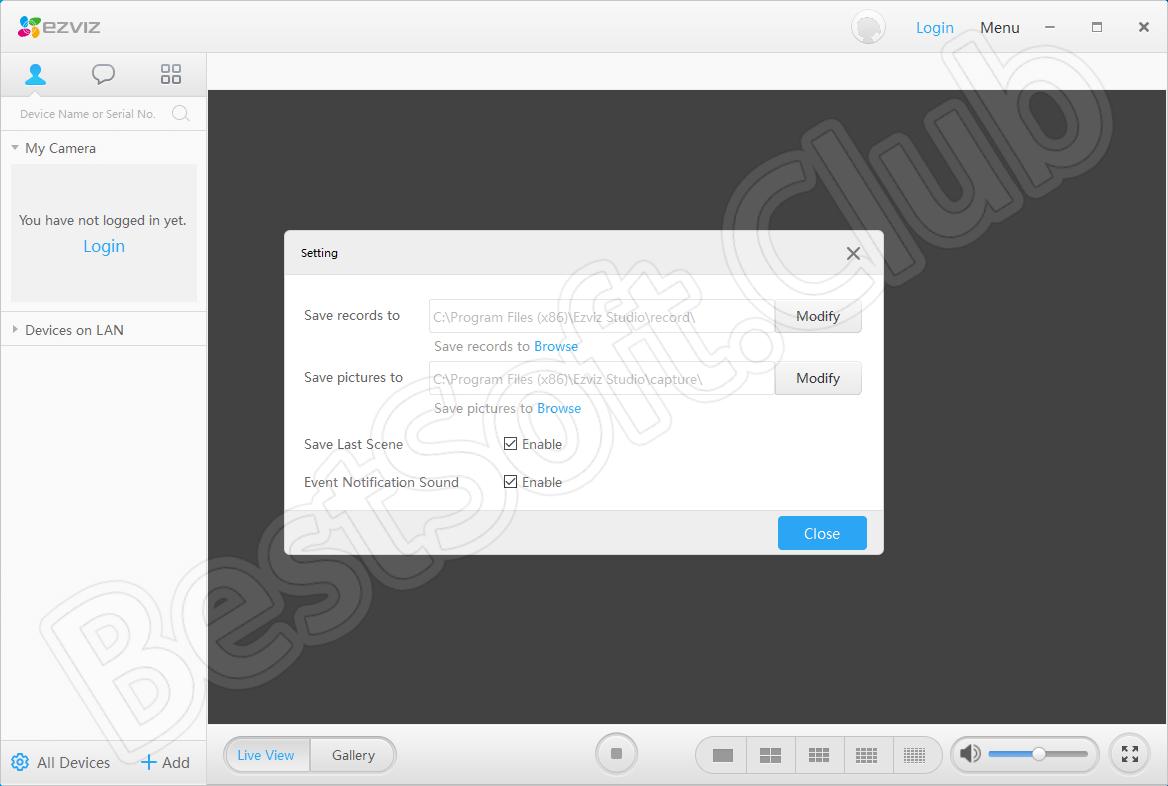 Пользовательский интерфейс Ezviz Studio