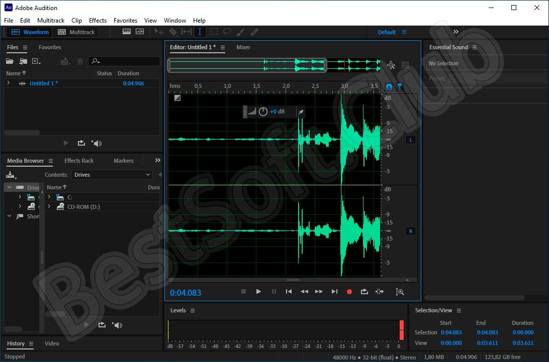Программный интерфейс Adobe Audition