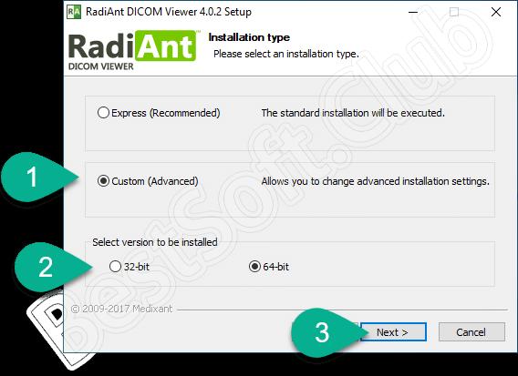 Выбор разрядности RadiAnt DICOM Viewer
