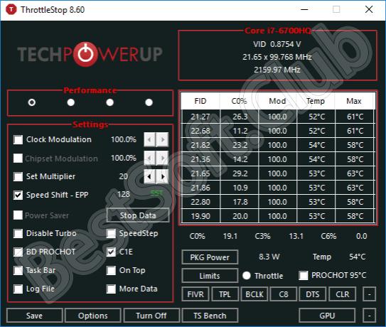 Пользовательский интерфейс ThrottleStop