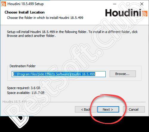 Путь инсталляции SideFX Houdini FX