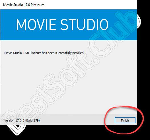 Завершение установки приложения Movie Studio Platinum