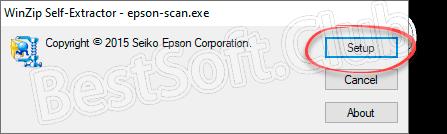 Начало установки программы Epson Scan