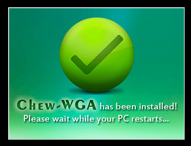 Окончание активации в Chew WGA