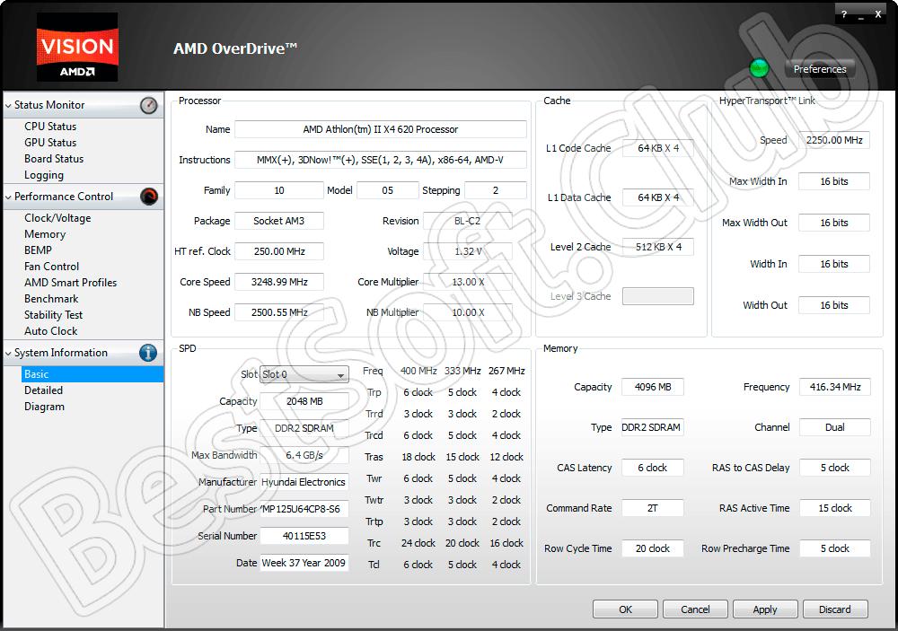 Программный интерфейс AMD OverDrive