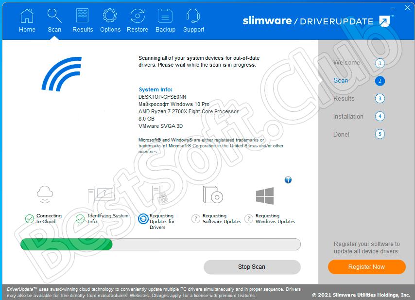 Пользовательский интерфейс SlimDrivers