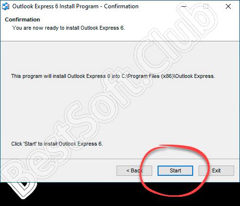 Начало инсталляции Microsoft Outlook Expres