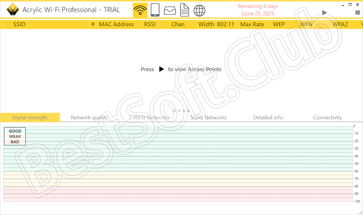 Пользовательский интерфейс приложения Acrylic WiFiПользовательский интерфейс приложения Acrylic WiFi