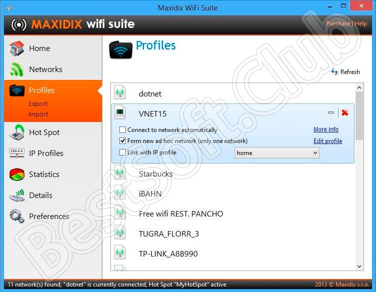 Работа с программой Maxidix Wifi Suite