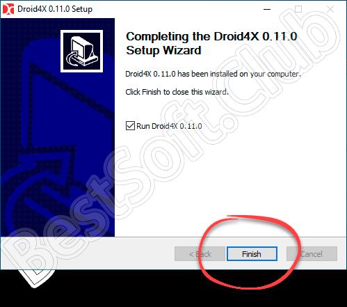 Завершение установки Droid4x