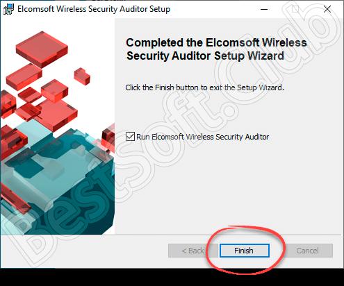 Завершение установки Elcomsoft Wireless Security Auditor