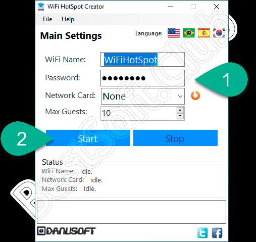 Работа с программой WiFi HotSpot Creator
